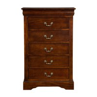 Alpine Furniture West Haven 5-Drawer Tall Boy Chest - Cappuccino