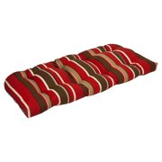 Outdoor Patio Furniture Wicker Loveseat Cushion - Tropical Red Stripe