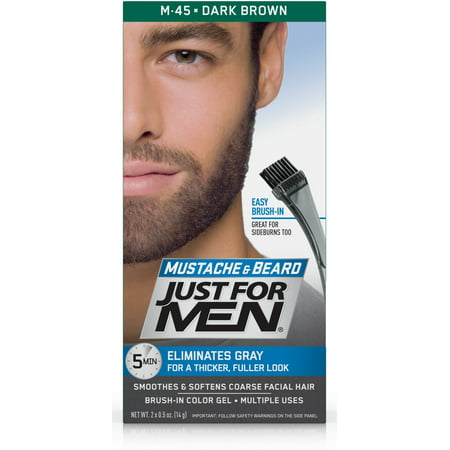 Just For Men Mustache and Beard, Easy Brush-In Facial Hair Color Gel, Dark Brown, Shade M-45 (Pack of