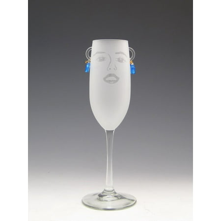 Set Of 4 Stella Etched Champagne Flute Glasses With Pale Blue Earrings 8 Ounces