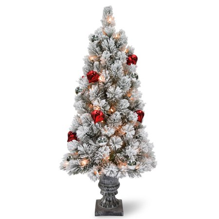 4 ft. Snowy Bristle Pine Entrance Tree with Clear Lights ()