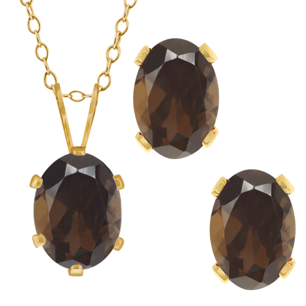 2.70 Ct Oval Brown Smoky Quartz Gold Plated Silver Pendant Earrings Set