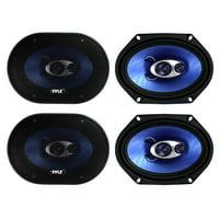 "Pyle PL683BL 6x8"" 720 Watt 3-Way Car Coaxial Audio Speakers Stereo - Blue"