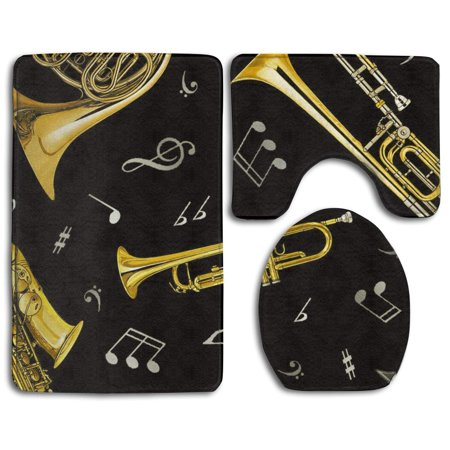XDDJA Trumpet Trombone French Horn 3 Piece Bathroom Rugs Set Bath Rug Contour Mat and Toilet Lid Cover - image 1 of 2