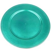 BalsaCircle 6 pcs 13-Inch Crystal Beaded Round Charger Plates - Dinner Party Wedding Supplies for all Holidays