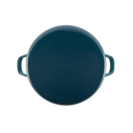 Rachael Ray 12-Quart Enamel on Steel Stockpot with Lid, Marine Blue