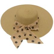 womens Tan Brown Polka Dot Bow Band Accent Wide Brim Sun Hat