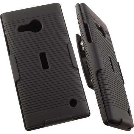 LUMIA 735 CLIP, NAKEDCELLPHONE BLACK RIBBED HARD CASE COVER + BELT CLIP HOLSTER WITH STAND FOR MICROSOFT/NOKIA LUMIA 735 730 PHONE (Lumia 730 Best Price)