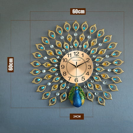 21 inch Non Ticking 3D Large Luxury 40pcs Diamonds Jelwery Peacock Decorative Clock Crystal Metal Clock Silent Home Wall Clock Decor for Living Room, Bedroom, Office