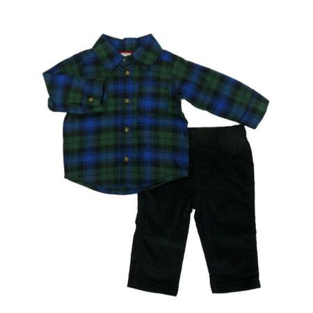 78610cfac620 Carters - Carters Infant Boys 2-Piece Green & Blue Plaid Flannel Shirt &  Pants Set 6m - Walmart.com