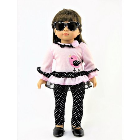 Polka Dot Ruffle Legging - Pink Ruffle & Polka Dot Pant Set   Fits 18