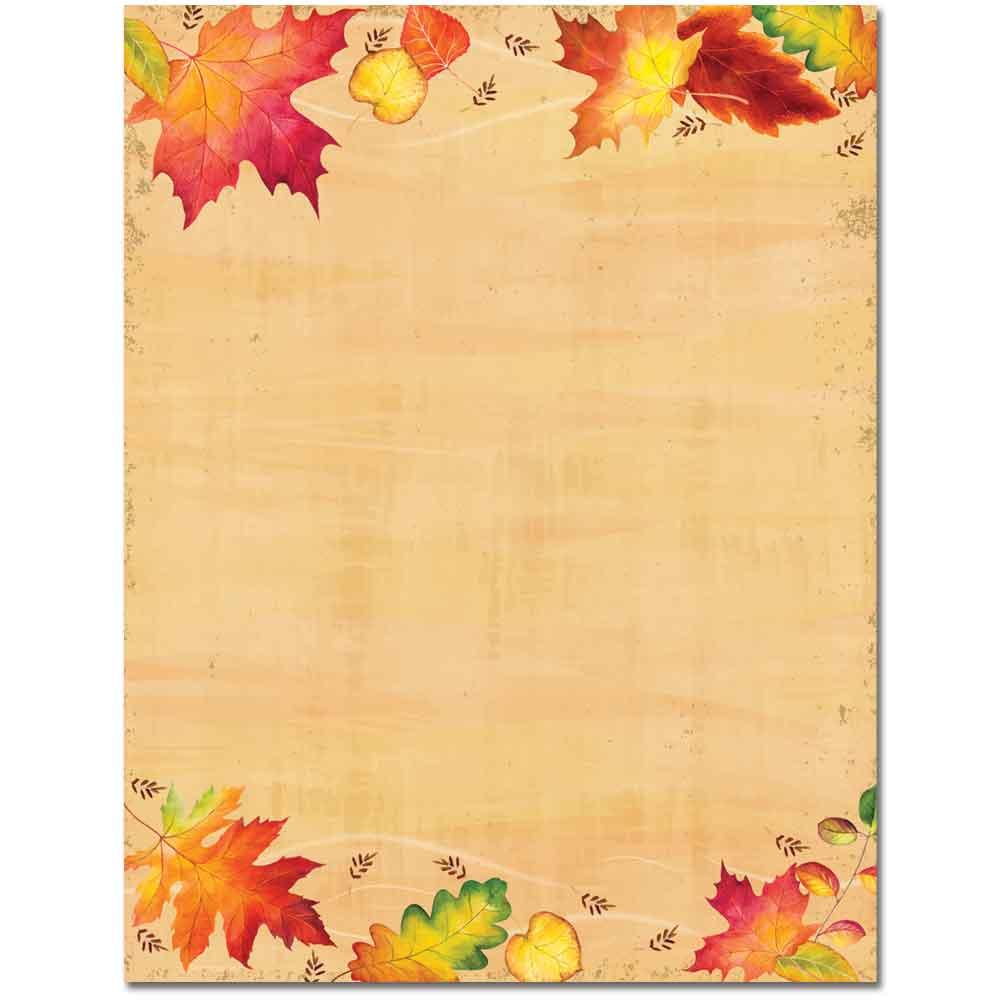 Falling Autumn Leaves Letterhead Laser & Inkjet Printer Paper