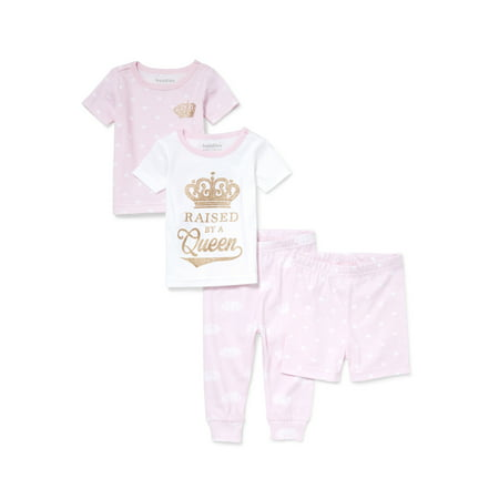 Baby And Toddler Girls 'Raised by A Queen' Crown And Heart Printed 4-Piece Snug-Fit PJ Set (Baby and Toddler Girls) for $<!---->