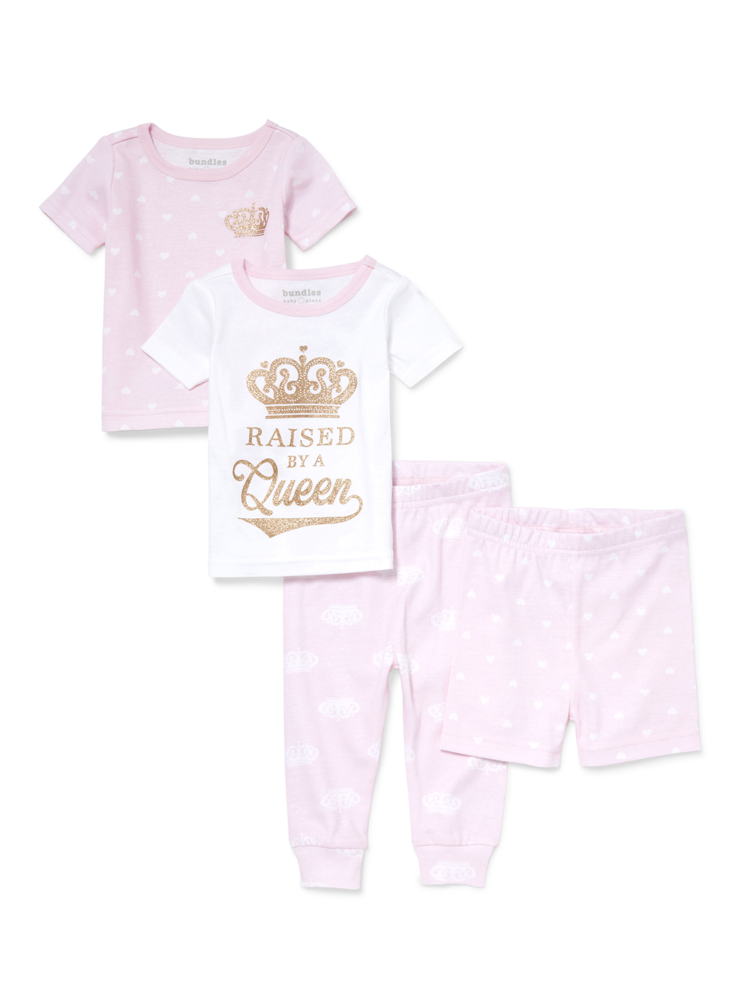 Baby And Toddler Girls 'Raised by A Queen' Crown And Heart Printed 4-Piece Snug-Fit PJ Set (Baby and Toddler Girls)