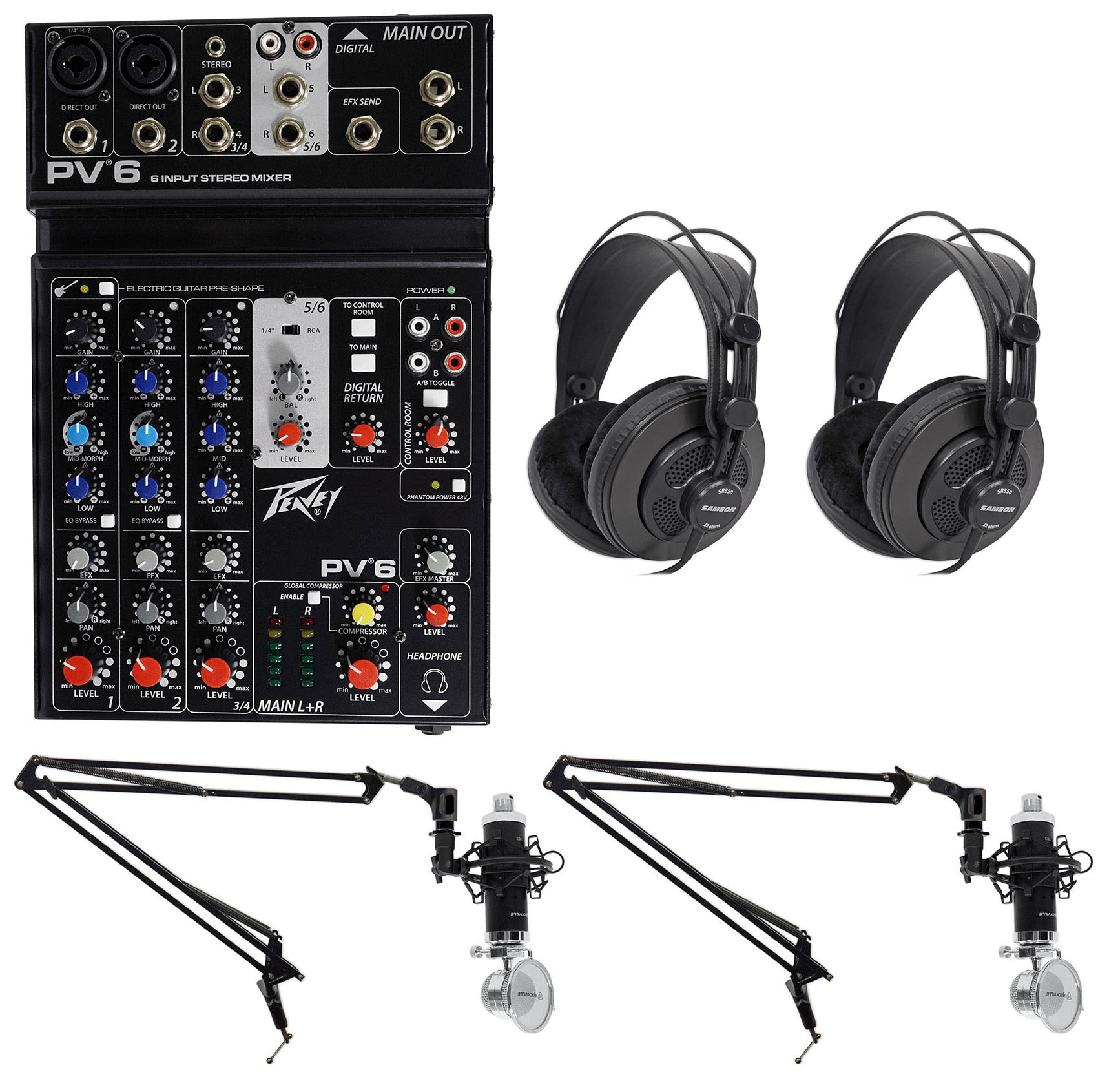 Podcasting Podcast Recording Bundle w/Peavey Mixer+(2) Headphones+(2) Mic+Booms