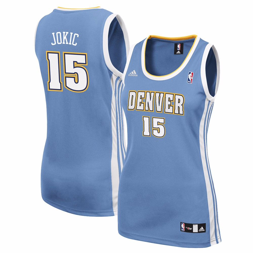 Nikola Jokic Denver Nuggets NBA Adidas Blue Official Away Road Replica Jersey For Women