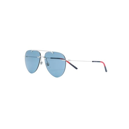 Gucci GG0397S 006 Sunglasses Silver Frame Blue Lenses 60mm