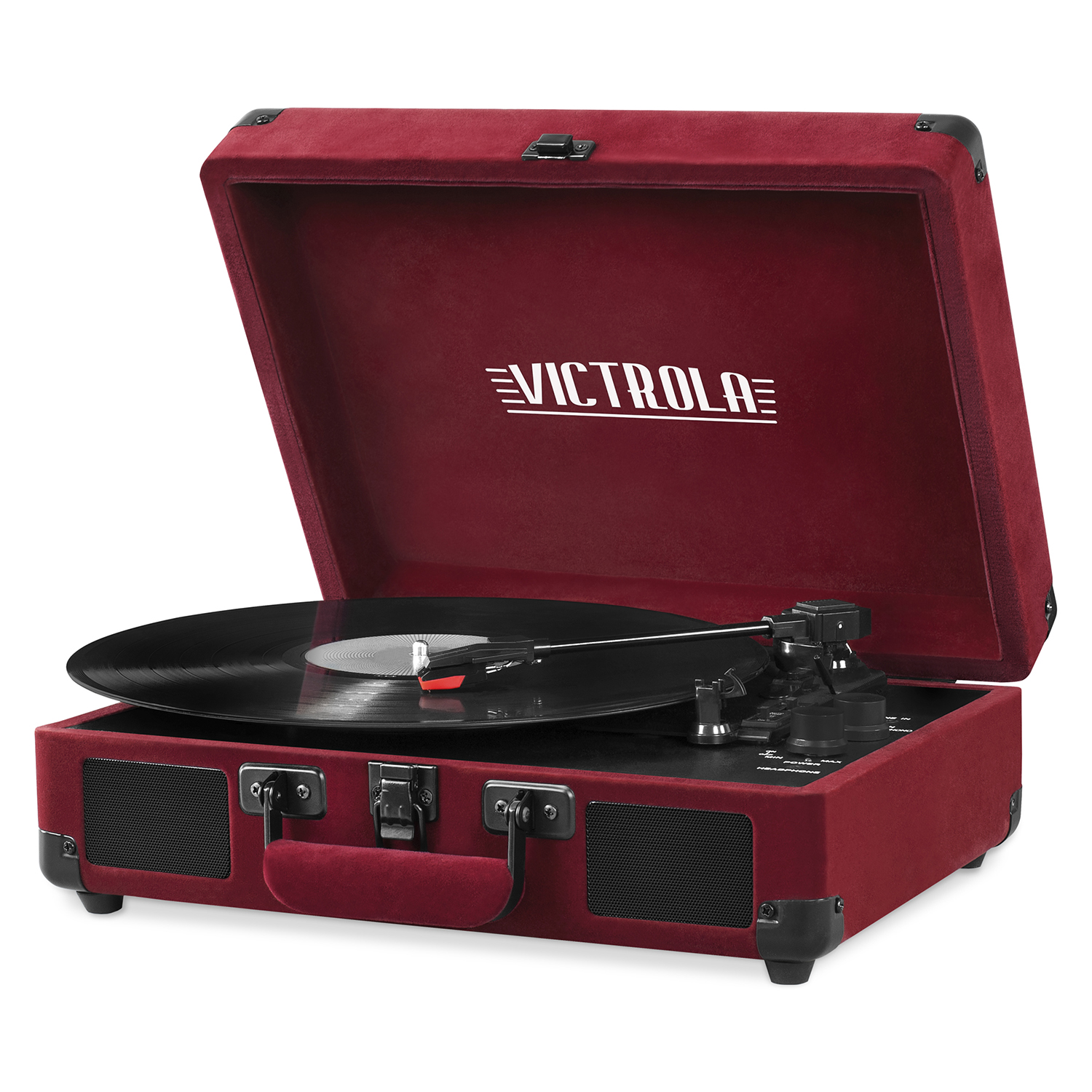 Victrola Bluetooth Suitcase Record Player with 3-speed Turntable, Velvet