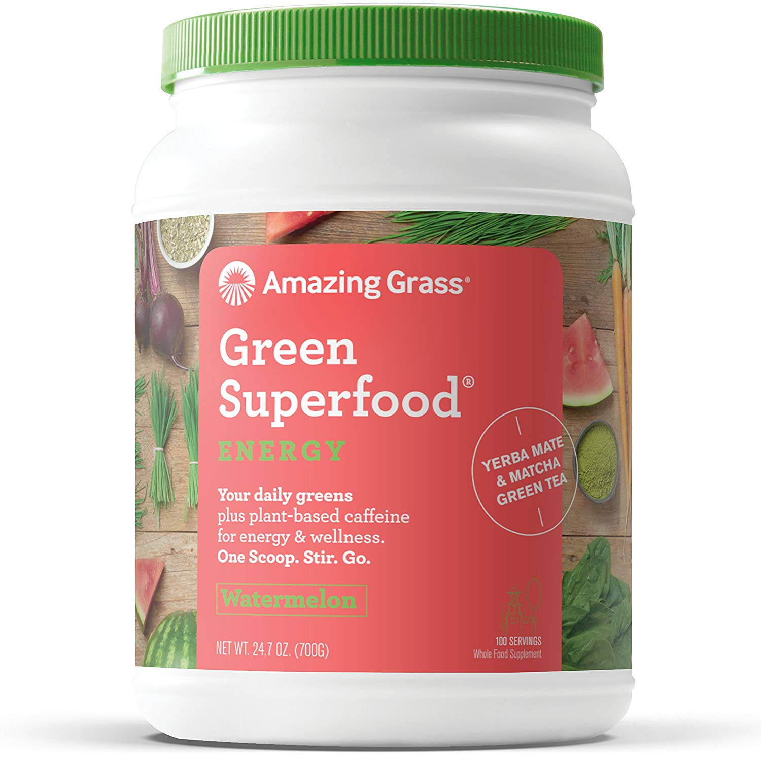 Amazing Grass Energy Green Superfood Powder, Watermelon, 100 Servings