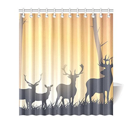 MKHERT Wild Deer Shower Curtain Waterproof Bath Decor 66x72 Inch