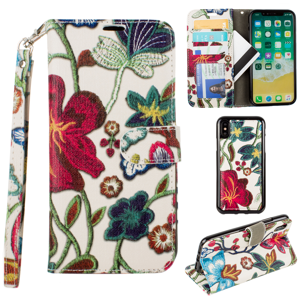CellularOutfitter Apple iPhone X Faux Leather Wallet Case - Embroidered Floral Design w/ Detachable Matching Case and Wristlet - Multi-Color