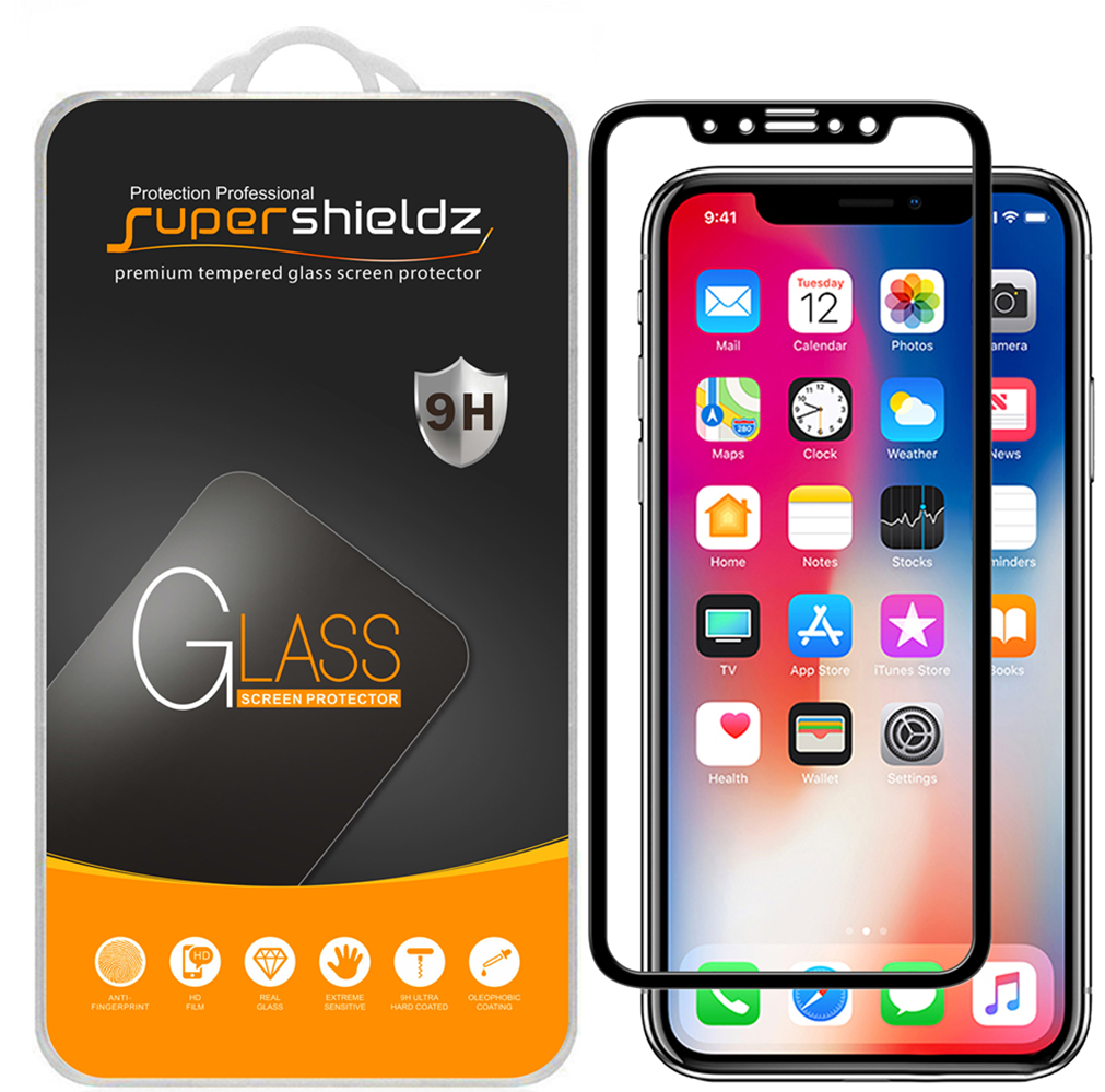 "[2-Pack] Supershieldz for Apple iPhone X / XS (5.8"") [Full Screen Coverage] Tempered Glass Screen Protector, Anti-Scratch, Anti-Fingerprint, Bubble Free (Black Frame)"