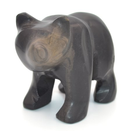 "Jet Black Stone Bear Figure, 4"" long, Carved from Real North American Onyx - The Artisan Mined Series by hBAR"