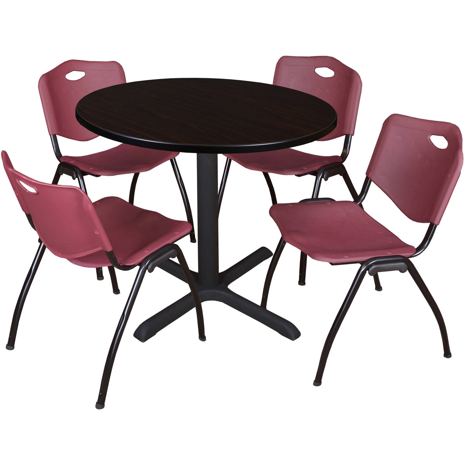"Cain 36"" Mocha Walnut Round Breakroom Table and 4 'M' Stack Chairs, Multiple Colors"