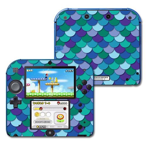 Mightyskins Protective Vinyl Skin Decal Cover for Nintendo 2DS wrap sticker skins Blue Scales