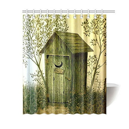 BPBOP Outhouse Wooden House Waterproof Polyester Shower Curtain 60x72 inches Bath Curtain Home Decor Outhouse Bathroom Decor