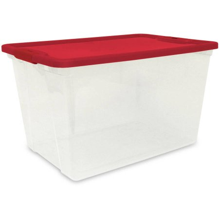 Mainstays 16 Gallon Clear Tote with Red Lid & Latches, 2 Piece