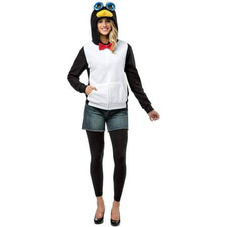 Black And White Penguin Hoodie Adult Halloween Costume (Penguin Costume Halloween)