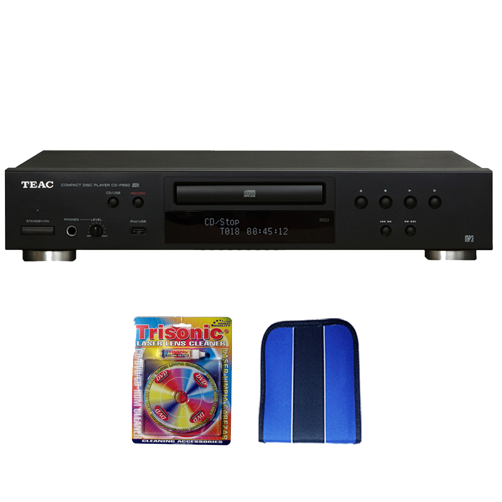 Teac Compact Disc Player with USB and iPod Digital Interface (CD-P650-B ) -Black-Essentials Bundle Includes, Trisonic Lens Cleaning Kit & CD/DVD Wallet