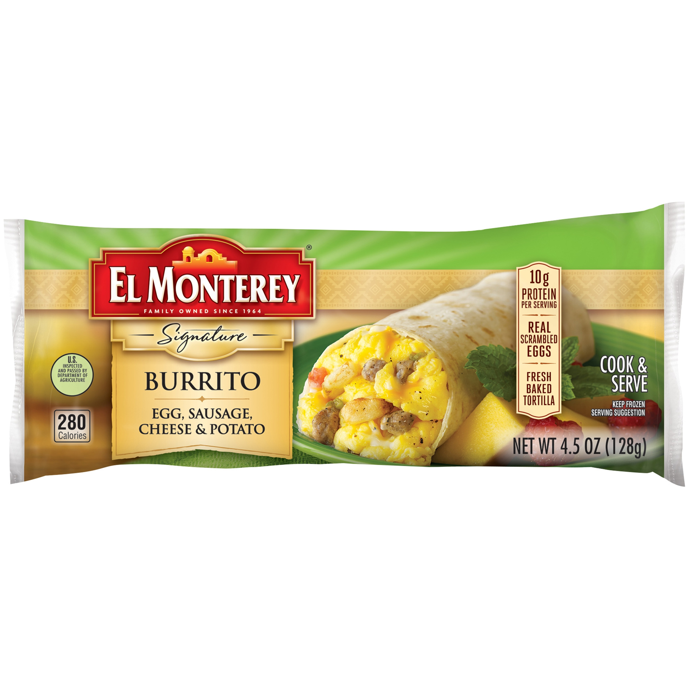 El Monterey® Signature Egg, Sausage, Cheese & Potato Burrito 4.5 oz. Bag