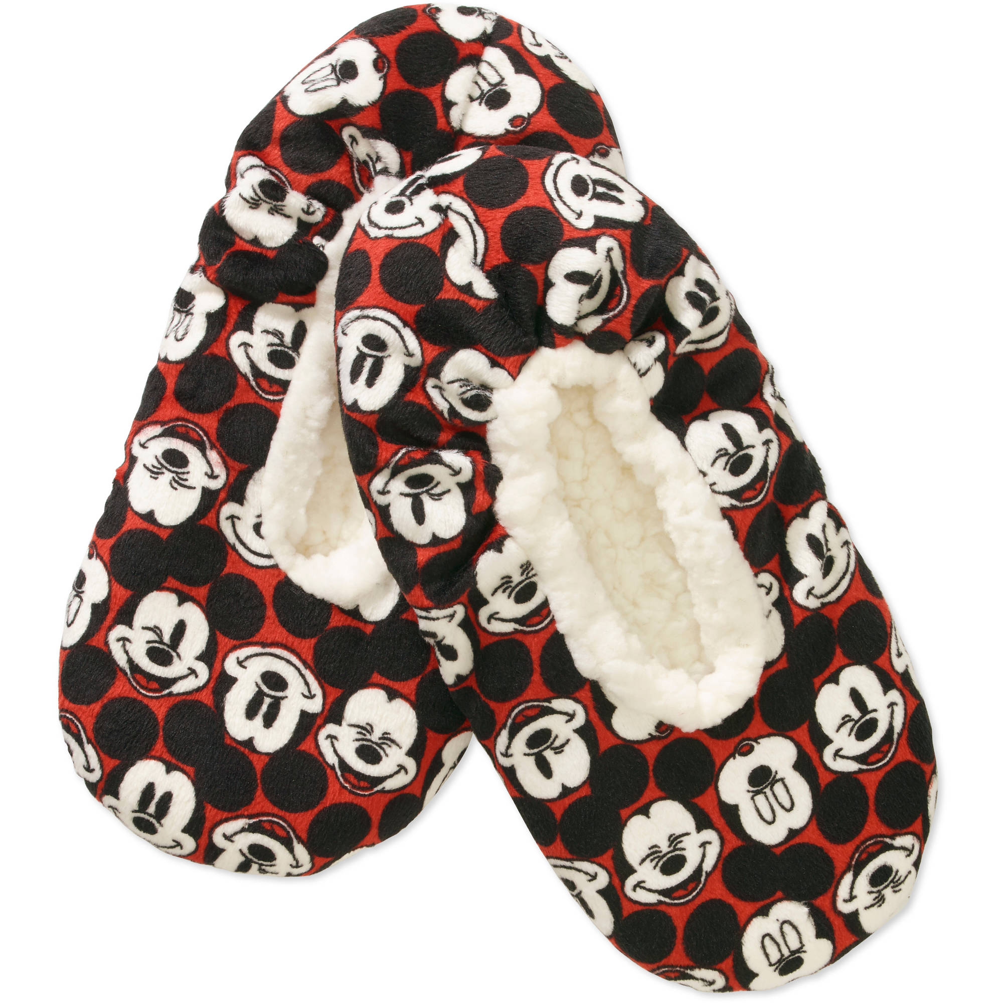 Silky Suede Fuzzy Babba Mickey Mouse Printed Slipper Socks
