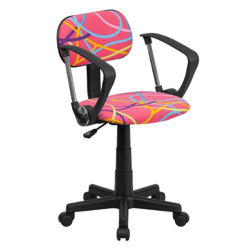 Multi-colored Swirl Printed Pink Computer Chair with Arms