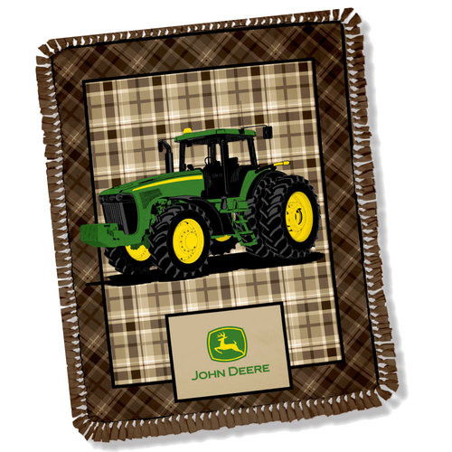 Springs Creative John Deere Brown Plaid Throw Kit