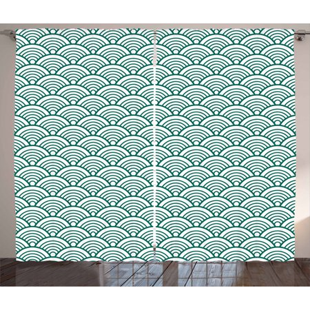 Teal Curtains 2 Panels Set, Traditional Japanese Chinese Seigaiha Pattern  Abstract Scales Asian Inspirations, Window Drapes for Living Room Bedroom,  ...