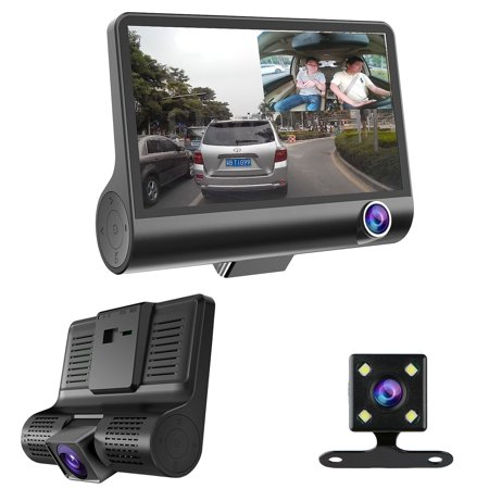 "4"" HD 1080P 170° 3 Lens Car DVR Dash Cam Vehicle Video G-sensor Recorder Rearview Camera"