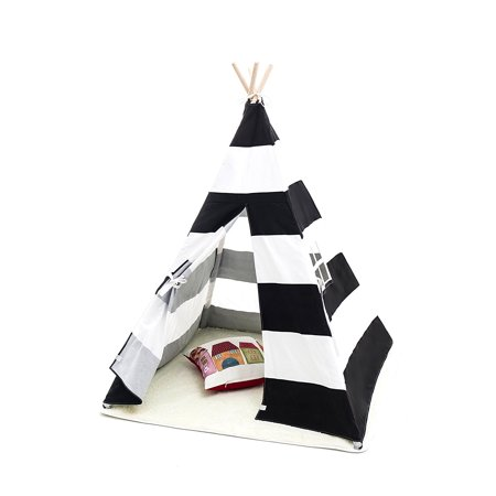 promo code b2000 e212e Small Boy Stripe Canvas Play Teepee Tent for Kids 100% Cotton by Tiny Land,  Black/White