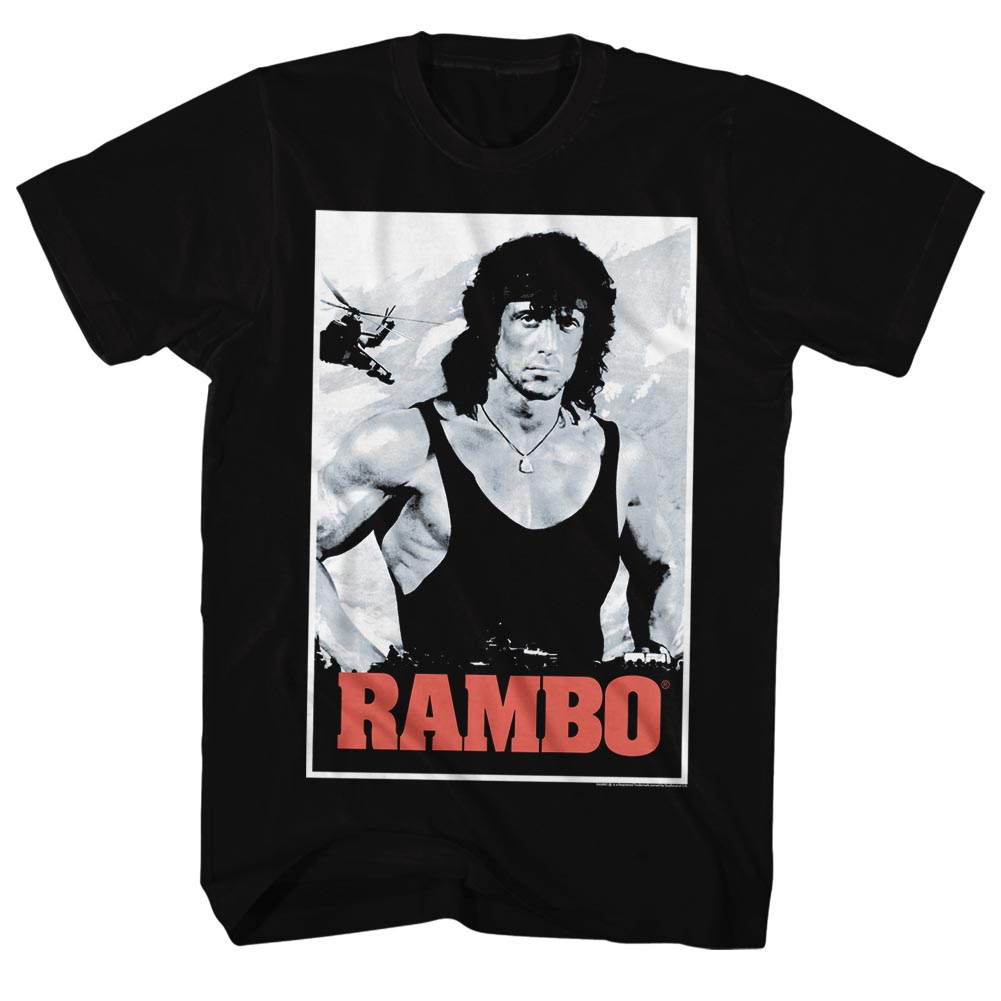Rambo 1980s Action Thriller War Movie Movie Poster Adult T-Shirt Tee - image 1 of 1