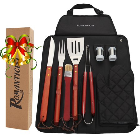 9pcs Stainless Steel Bbq Grill Tool Set With Hard Wood Handle In Fold N Snap A Storage Outdoor Barbecue Accessories Kit For Men Gift