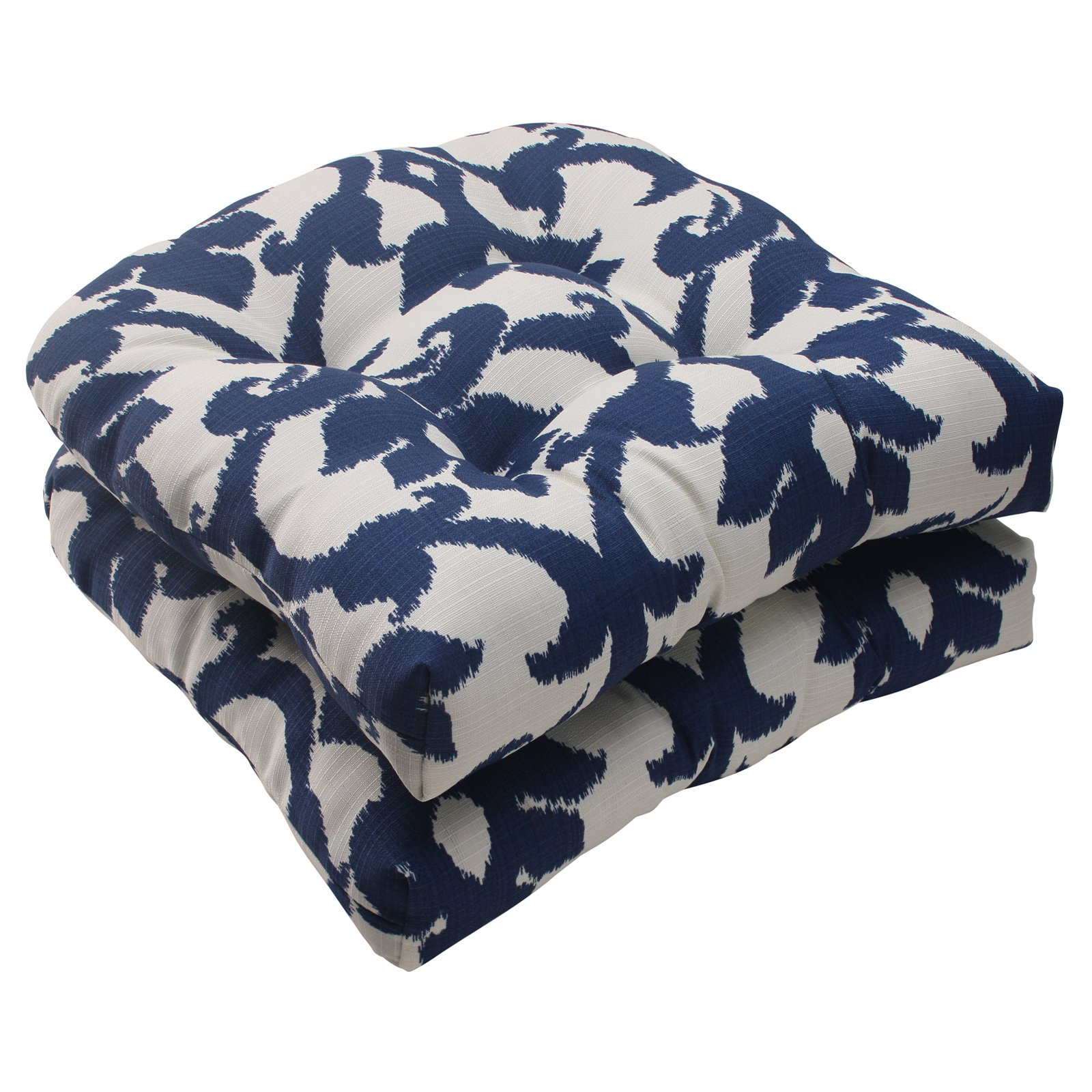 Pillow Perfect Outdoor/ Indoor Bosco Navy Wicker Seat Cushion (Set of 2)