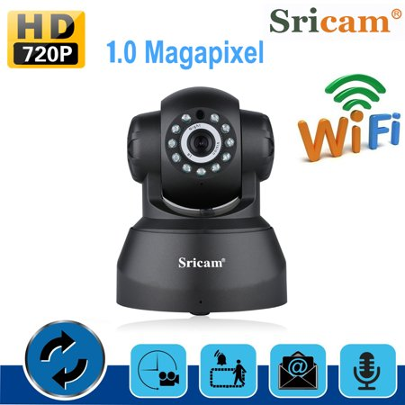 Sricam SP012 Security Camera 720p HD Pan/Tilt/Zoom Wireless IP Camera with Two Way Audio, Motion Detection, Night Verison, MicroSD Recording ()