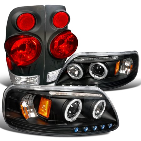 Spec-D Tuning For 1997-2003 Ford F150 Led Halo Euro Black Projector Headlight + 3D-Style Tail Brake Lamps (Left + Right) 1997 1998 1999 2000 2001 2002 -