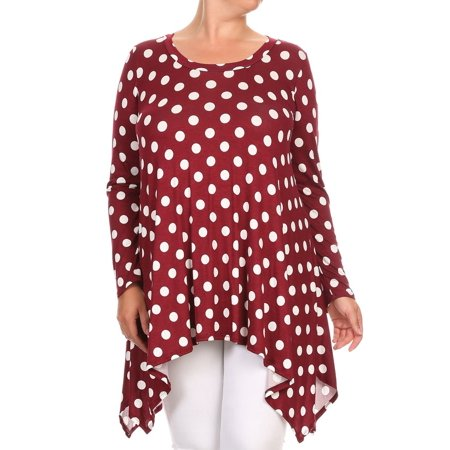 Women's Plus Size Trendy Style Long Sleeves Printed Tunic Top