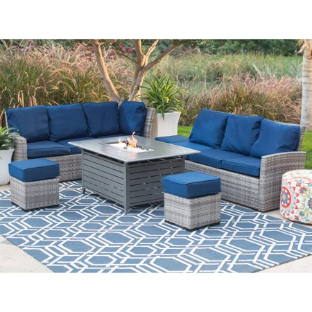 Belham Living Brookville All Weather Wicker Sofa with Longmont Fire Pit Table ()