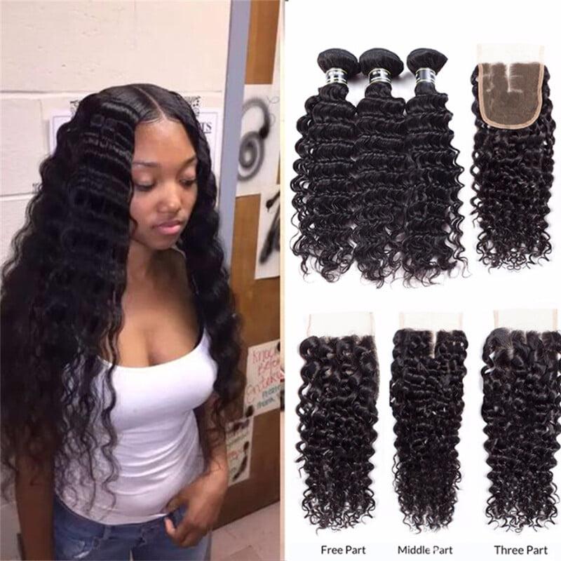 "Amazing Star Human Hair 3 Bundles with Closure Free Part Malaysian Virgin Hair Deep Wave, 16""18""20"" with 16"""
