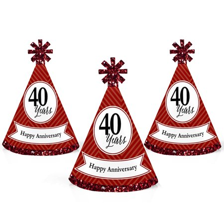 We Still Do - 40th Wedding Anniversary - Mini Cone Anniversary Party Hats - Small Little Party Hats - Set of (40th Anniversary Hat)