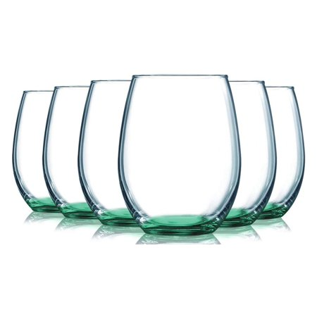 Aqua Stemless Wine Glasses Bottom Colored- 15 oz. Set of 6- Additional Vibrant Colors Available by TableTop King (Purple Plastic Wine Glasses)